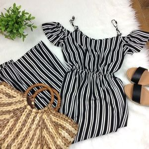 One Clothing Striped Cold Shoulder Maxi Dress S
